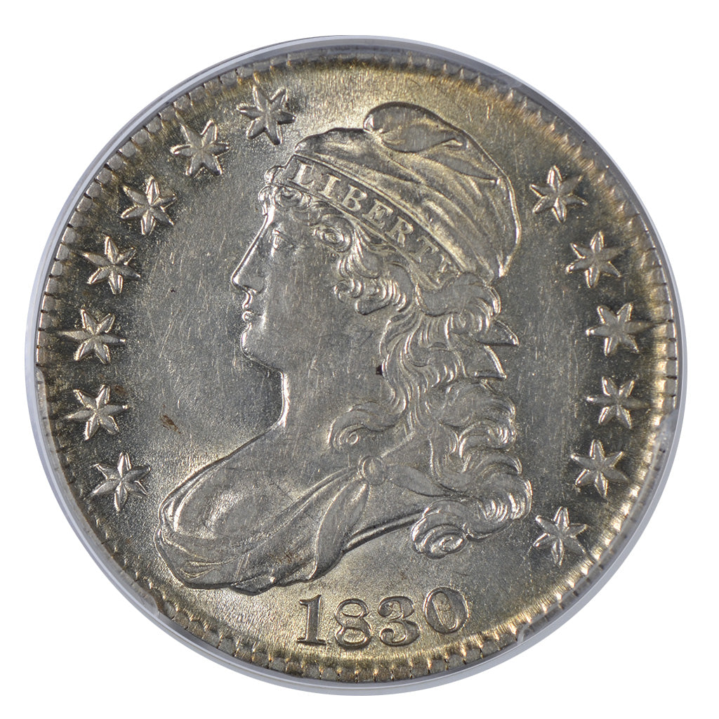 1830 Capped Bust Half Dollar, Small 0, PCGS AU53