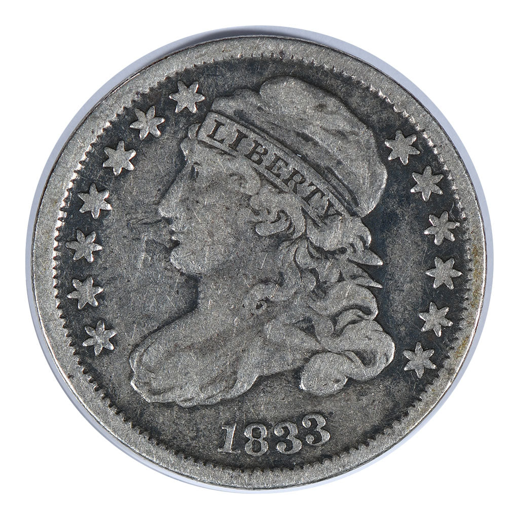 1833 High 3 Capped Bust Dime High 3 Very Fine