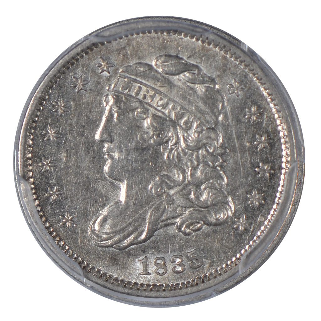 1835 Capped Bust Half Dime, Small Date, Large 5C, PCGS AU55