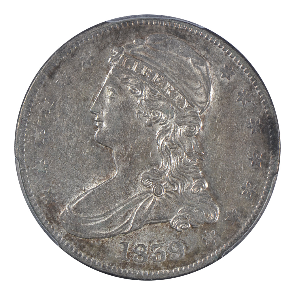 1839 Capped Bust Half Dollar, RE, Capped, Large Letters PCGS AU53