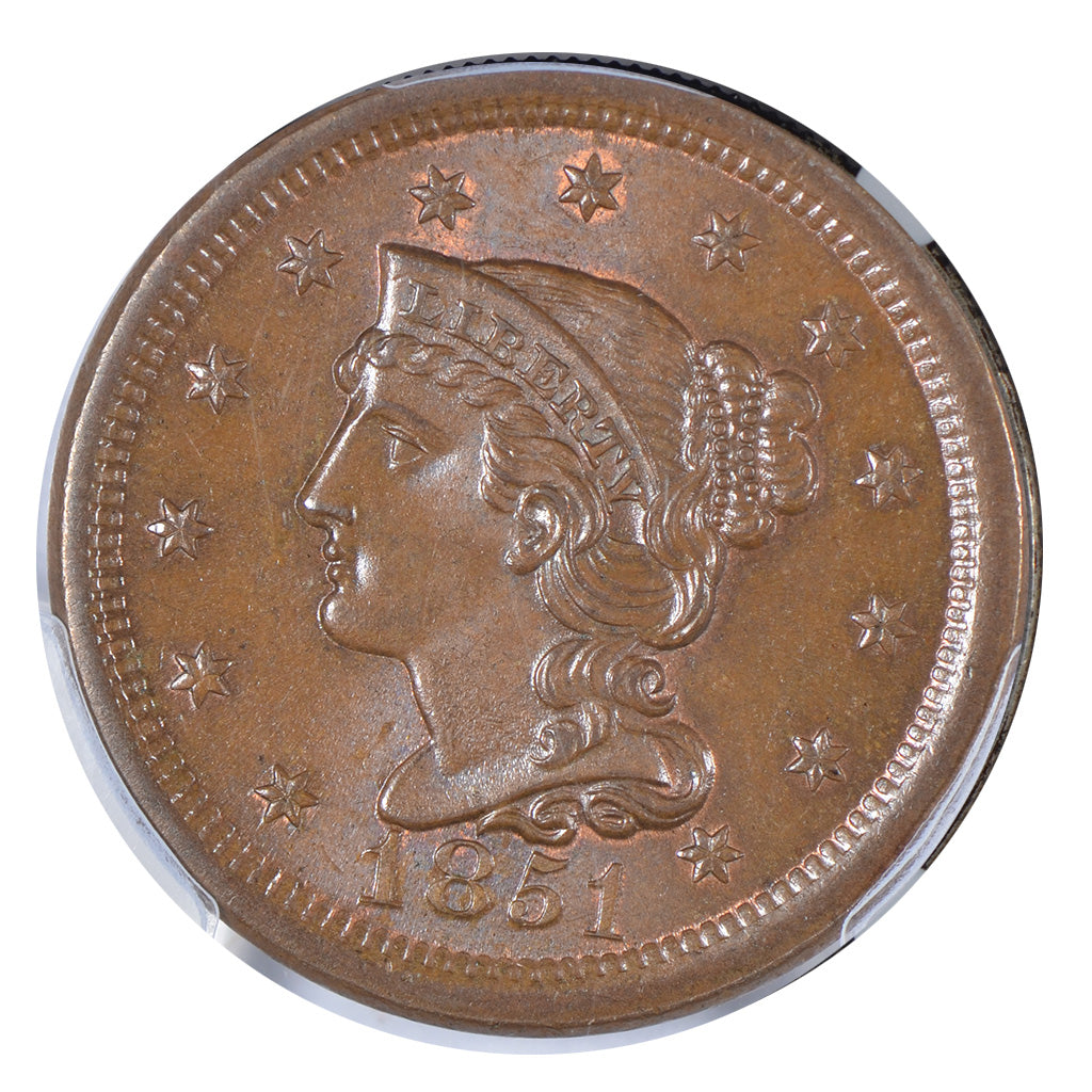 1851 Braided Hair Large Cent PCGS MS66+BN CAC
