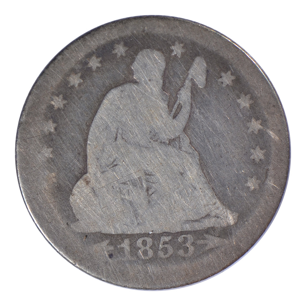 1853 Seated Liberty Quarter, Arrows & Rays, Good