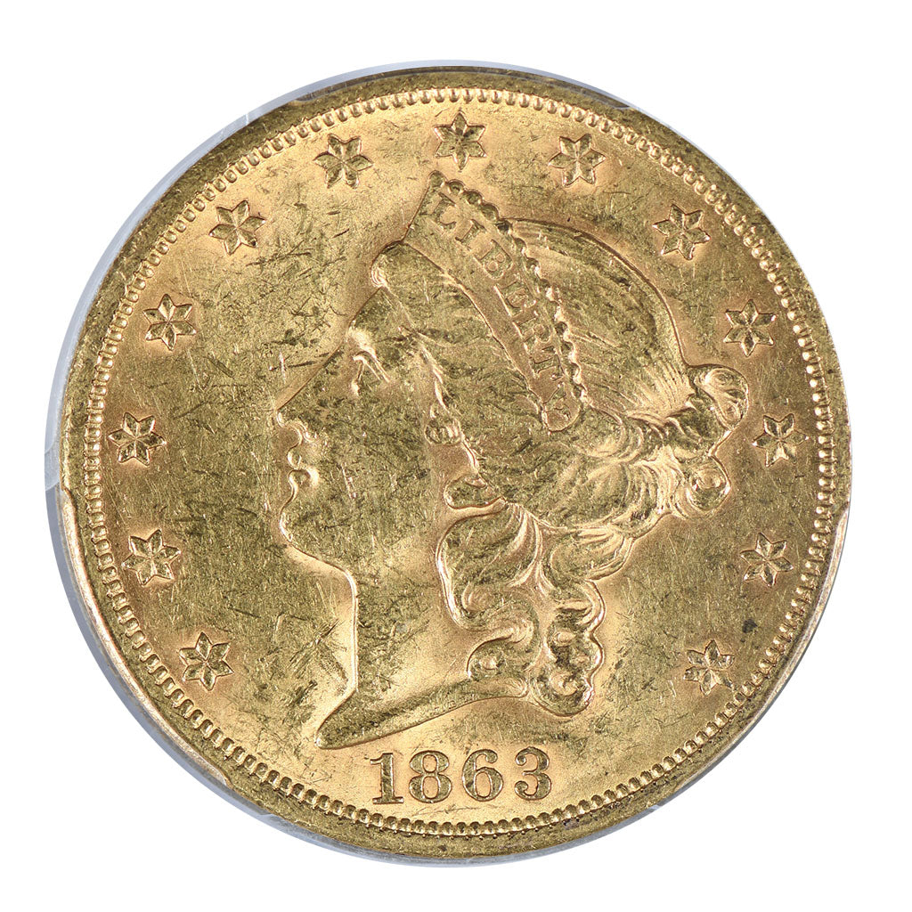 1863-S $20 Gold Liberty Head Double Eagle PCGS MS60