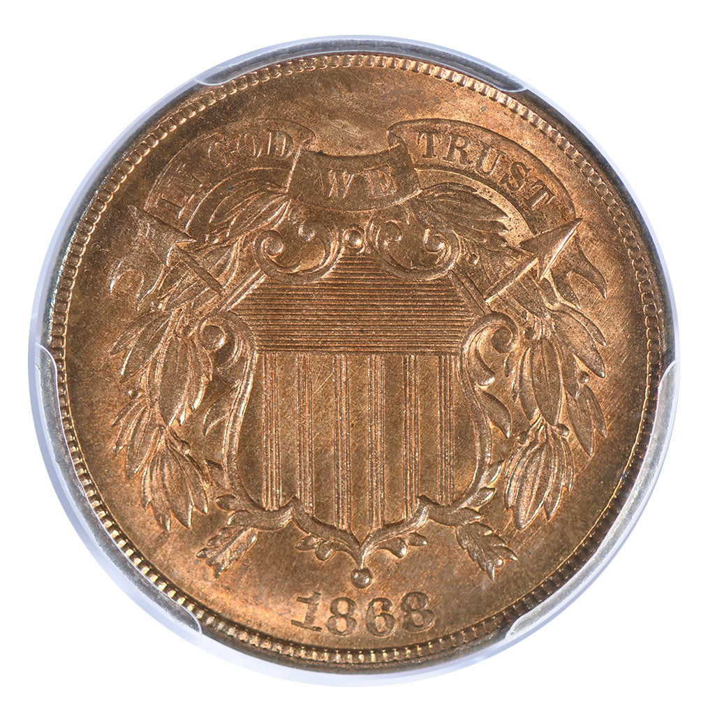1868 Two Cent Piece PCGS MS65RD