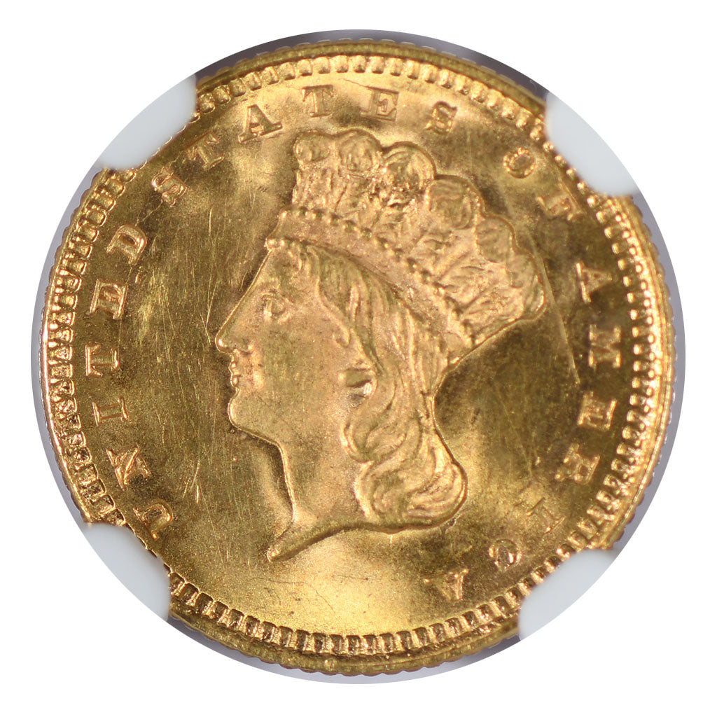 1873 $1 Gold Indian Princess Type 3 NGC MS64 CAC Open 3