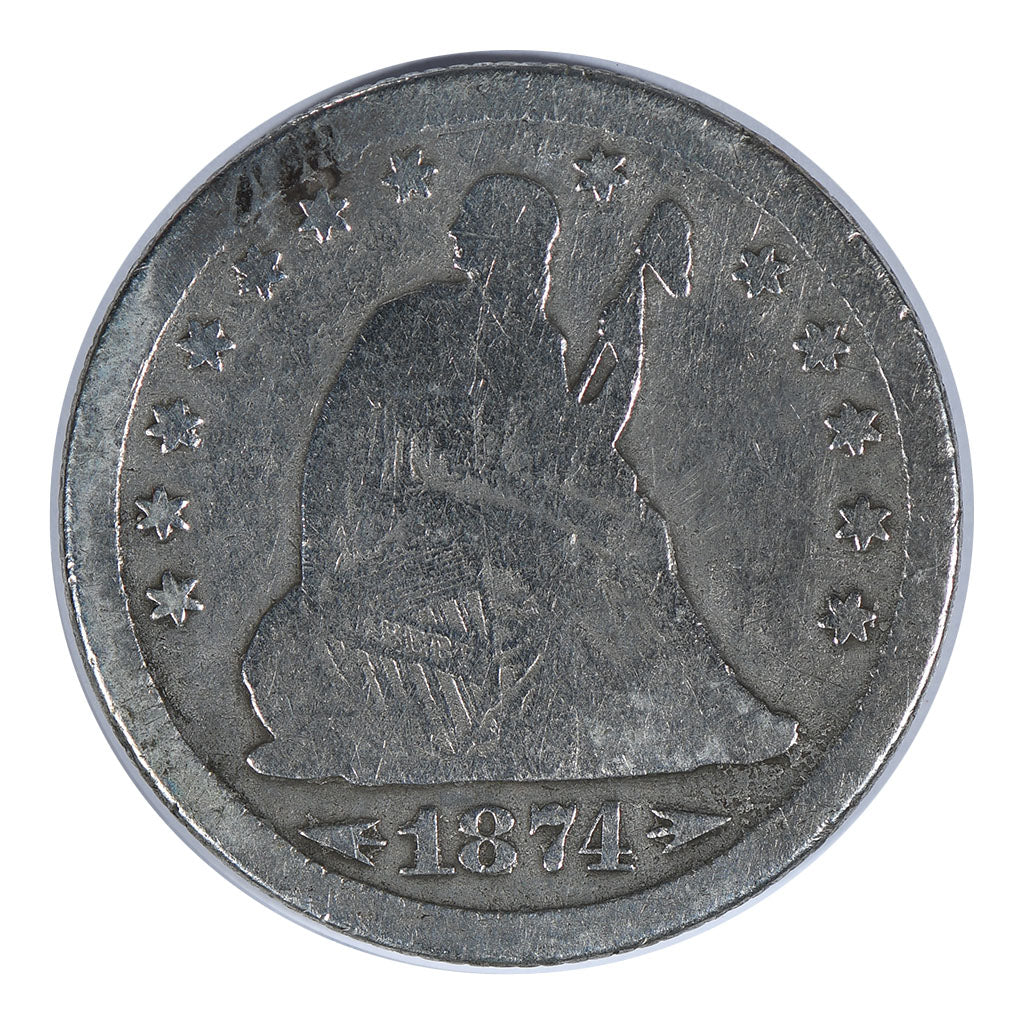 1874 Liberty Seated Quarter Very Good