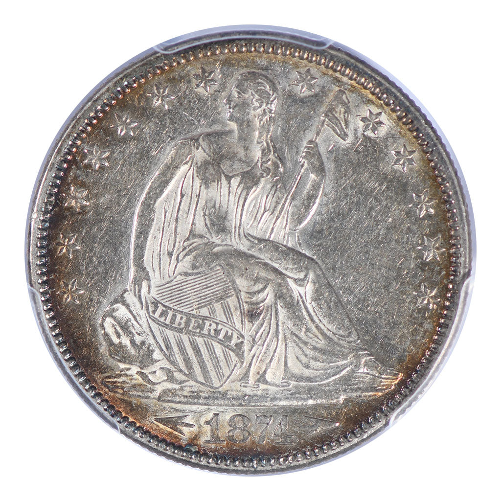 1874 Seated Liberty Half Dollar PCGS AU55 Arrows