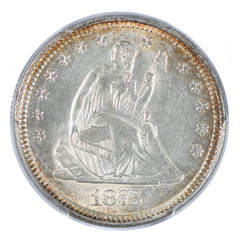 1875 Seated Liberty Quarter PCGS MS63