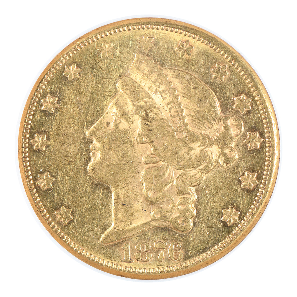 1876-CC $20 Gold Liberty Head Double Eagle NGC AU58