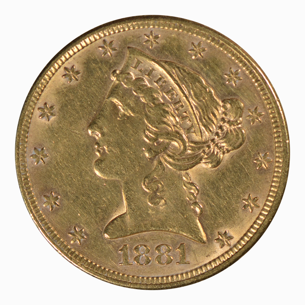 1881 $5 Liberty Head Gold Half Eagle About Uncirculated