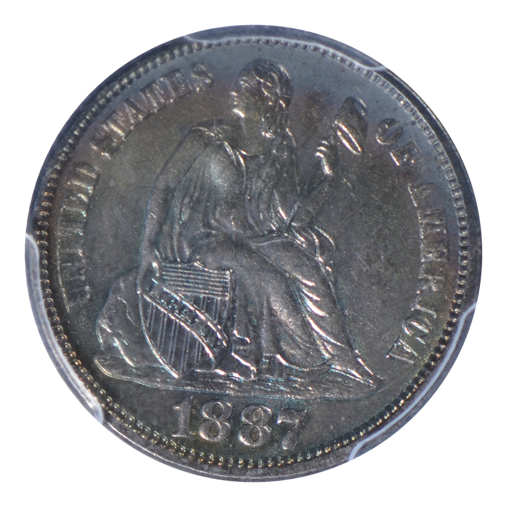 1887 Seated Liberty Dime PCGS MS64