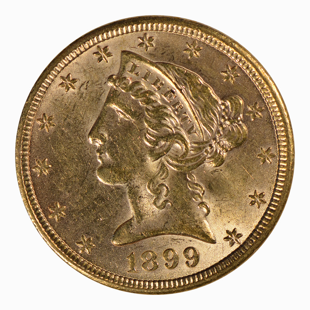 1899 $5 Liberty Head Gold Half Eagle About Uncirculated