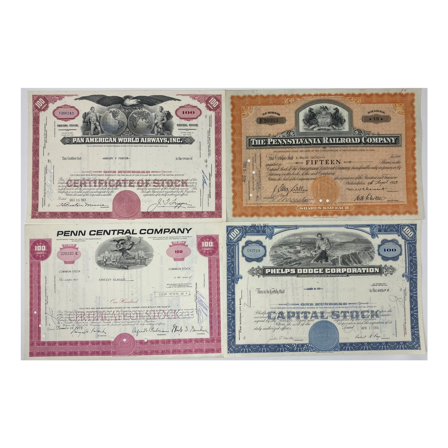 Great American Corporations Master Set of 75 Stock Certificates