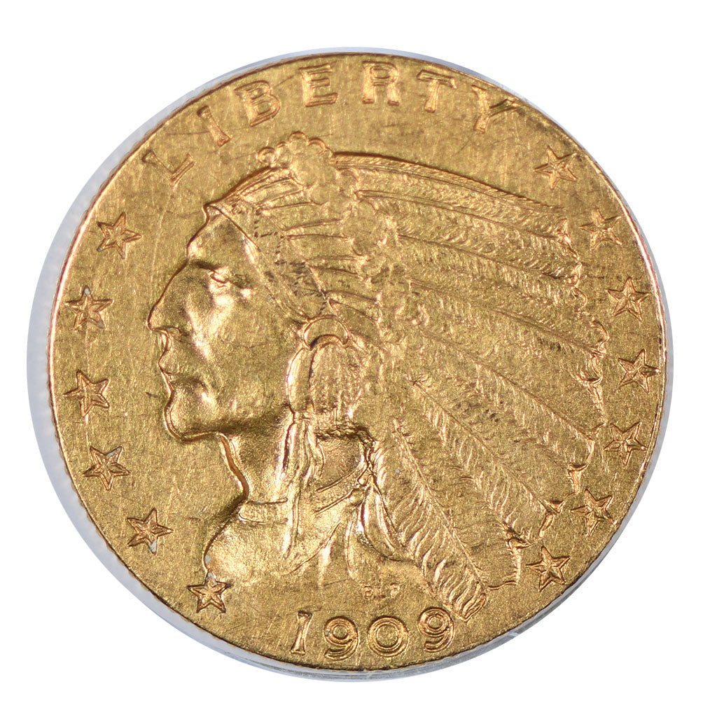 1909 $2.50 Gold Indian Head Quarter Eagle About Uncirculated