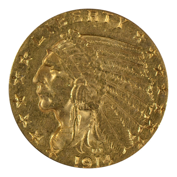 1914 $5 Indian Head Gold Half Eagle About Uncirculated
