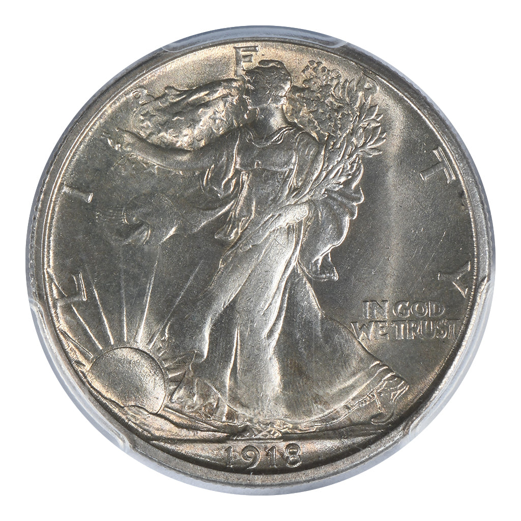 1918-S Walking Liberty Half Dollar PCGS MS64+ CAC