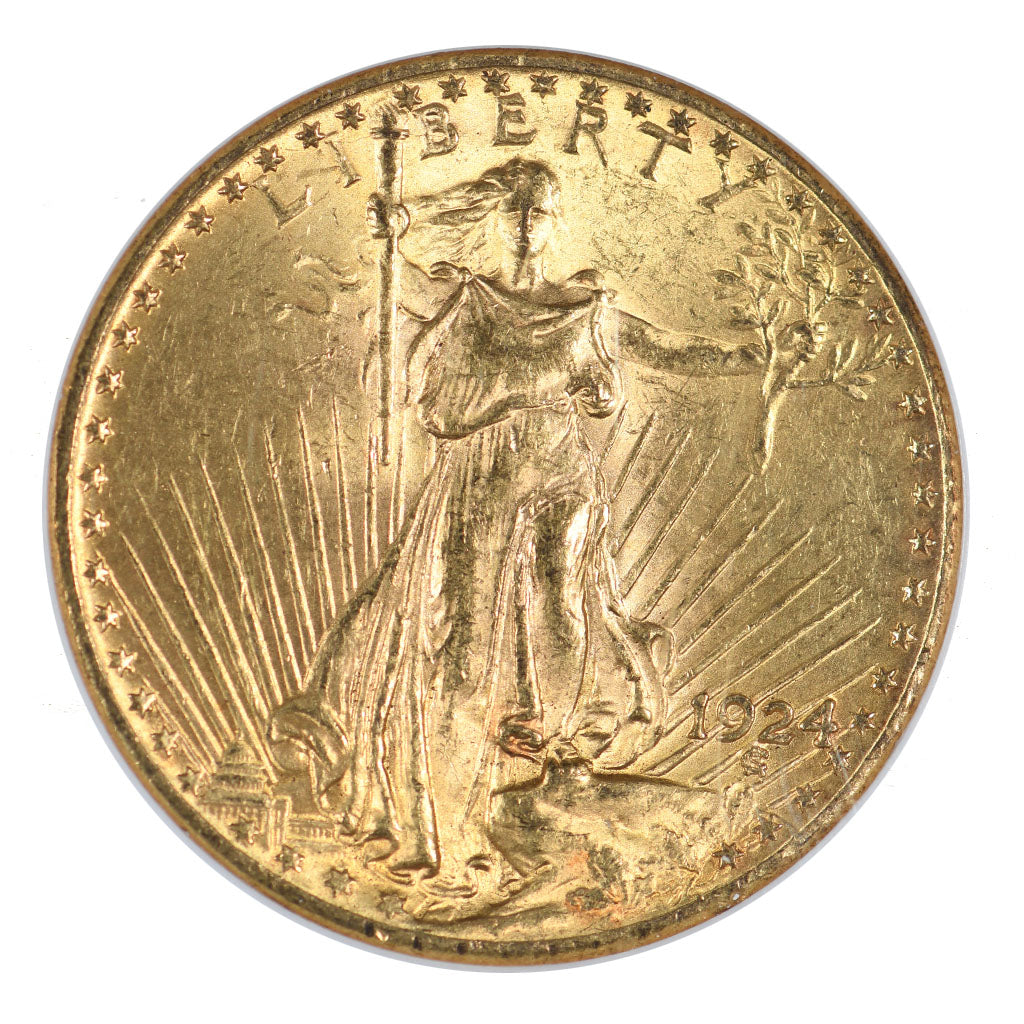 1924 $20 Gold Saint Gaudens Double Eagle NGC MS63