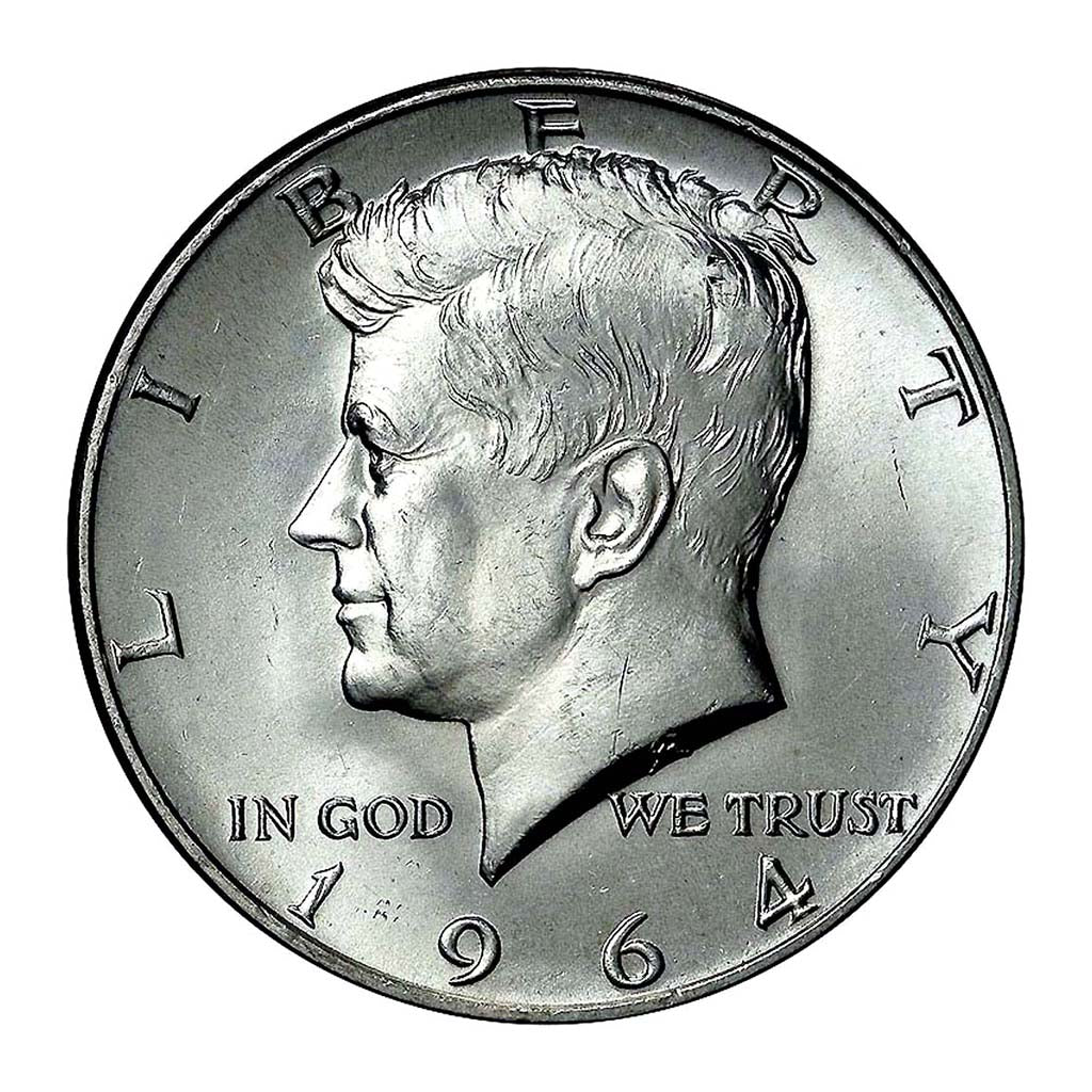 1964 Kennedy Half Dollar 90% Silver Average Circulated