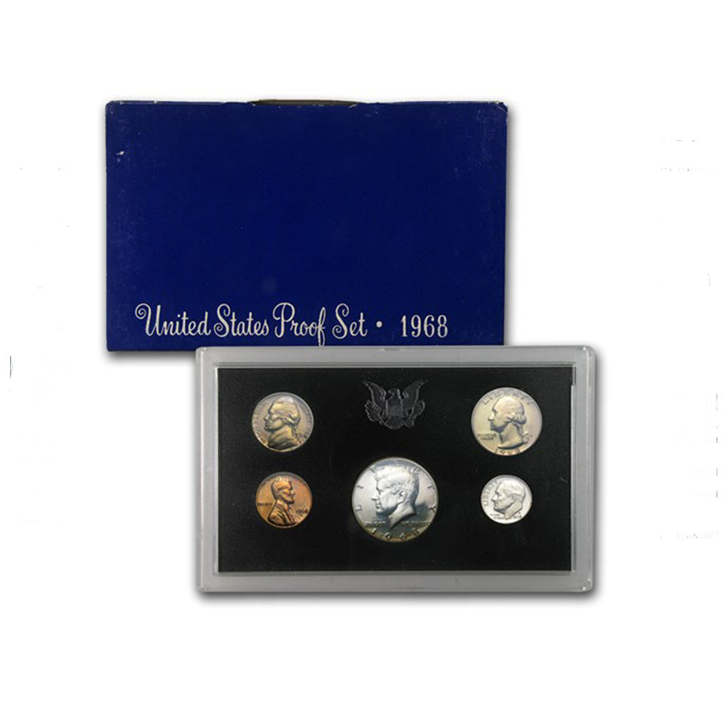 1968-S U.S. Proof Set: Complete 5-Coin Set, Original Packaging