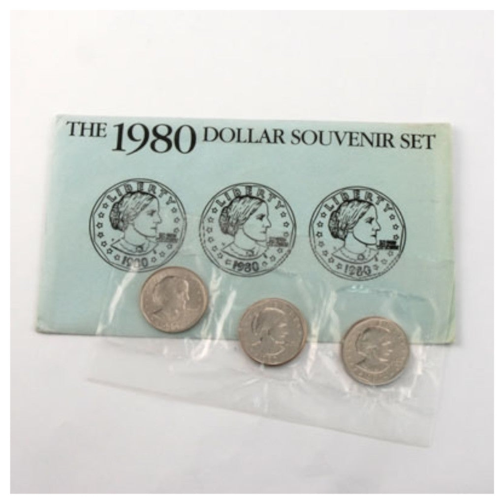 1980 U.S. Uncirculated Set, Susan B. Anthony Souvenir Set PDS, Blue Envelope