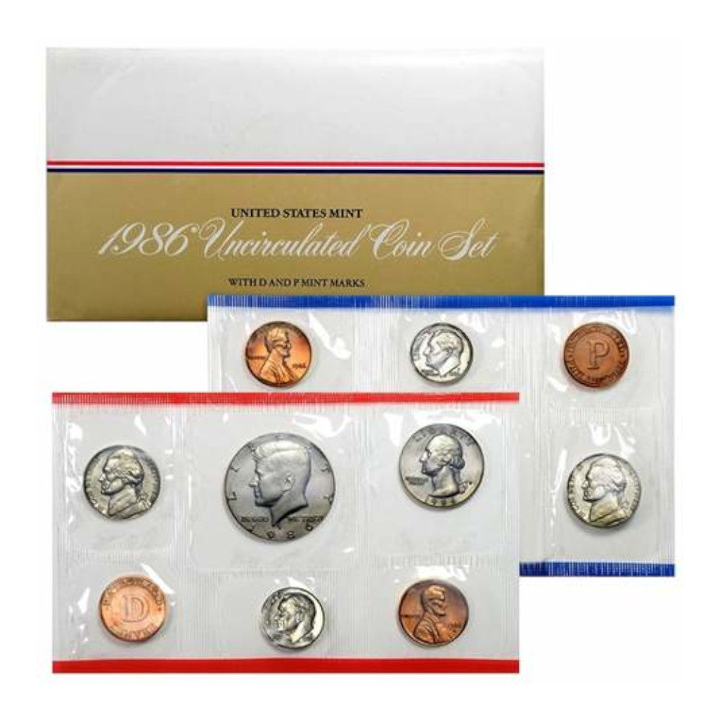 1986-P&D U.S. Uncirculated Set: 10-Coin Set in Original Packaging
