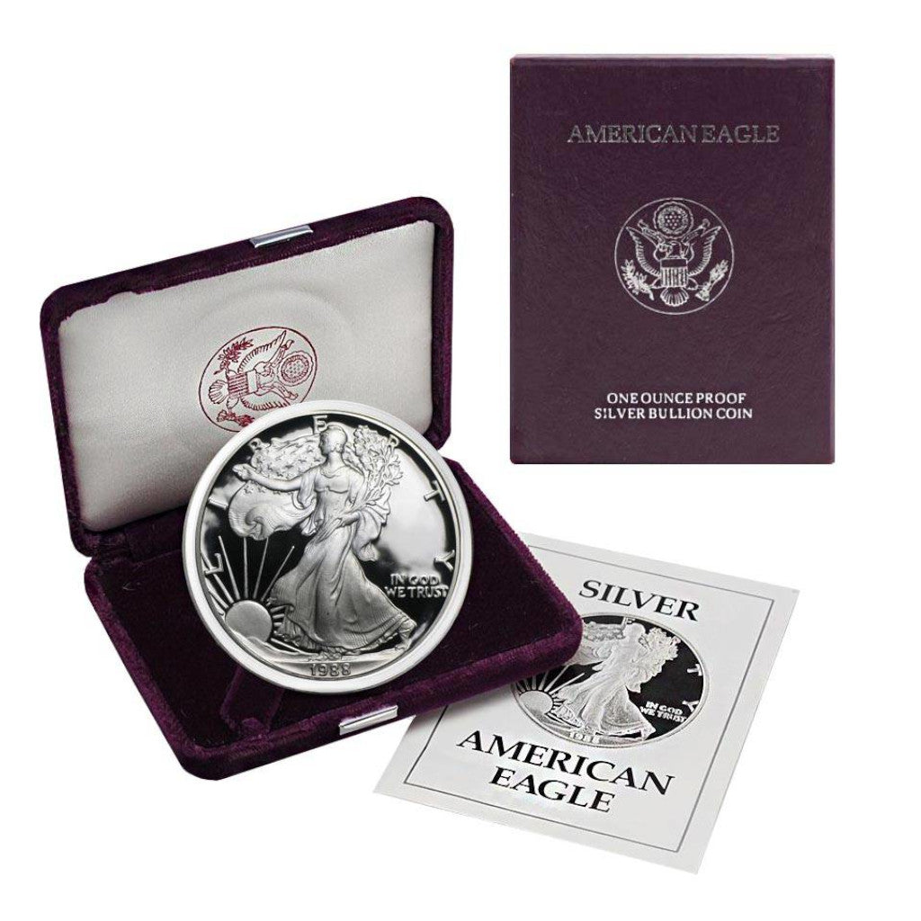 1988-S 1 oz American Silver Eagle Proof With Box and COA