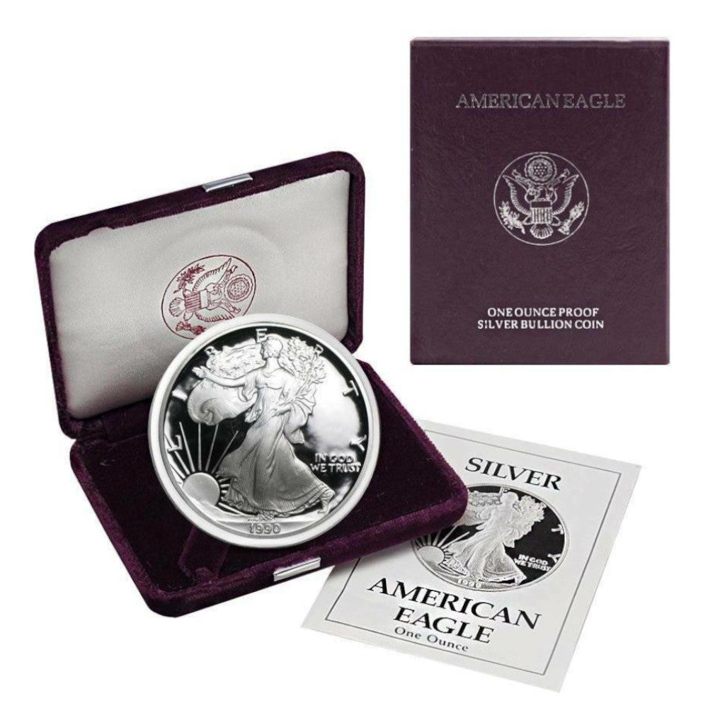 1990-S 1 oz American Silver Eagle Proof With Box and COA