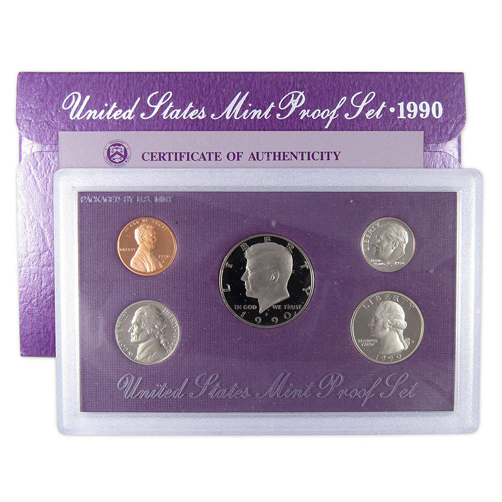 1990-S U.S. Clad Proof Set: Complete 5-Coin Set, Original Packaging