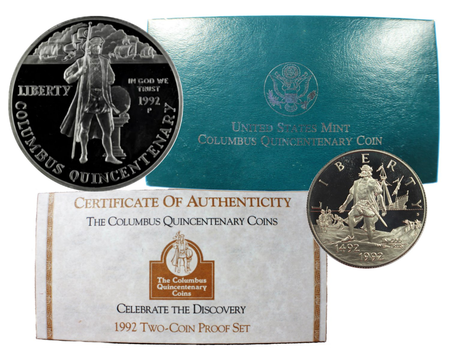 1992 Columbus Commemorative Silver Dollar Mint State 2-Coin Set