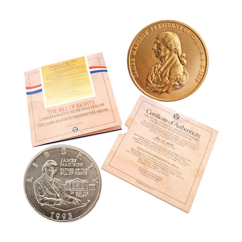 1993 Bill of Rights Silver Half Dollar Coin and Medal Set Commemorative Mint State