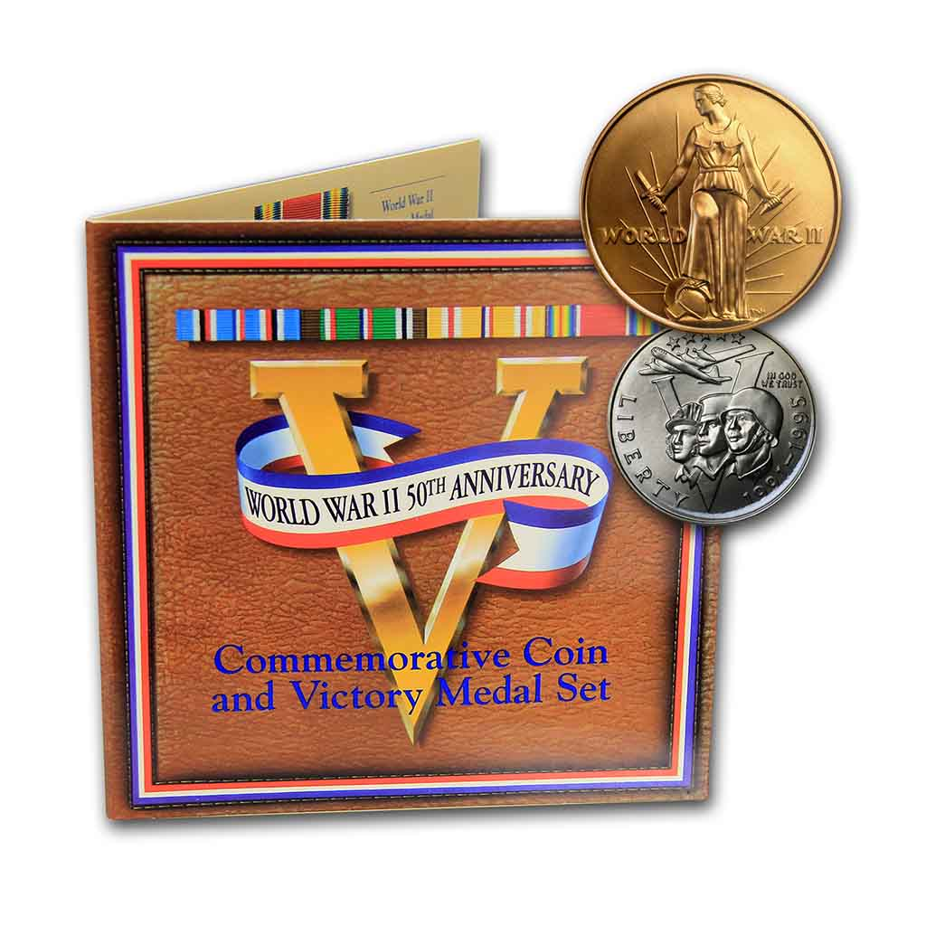 1993 World War Two Clad Half Dollar and Medal Set Commemorative Mint State