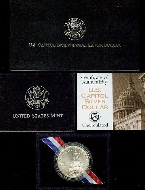 1994 US Capitol Commemorative Silver Dollar BU