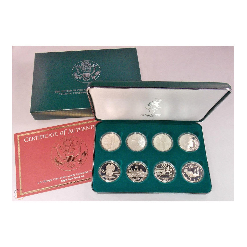 1995-96 Olympic Commemorative Silver Dollars 8-Coin Set Proof and Mint State