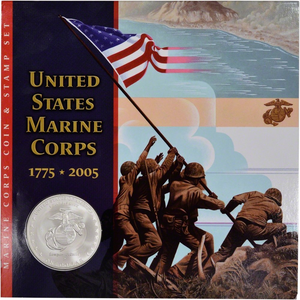 2005 United States Marine Corps Set Commemorative Silver Dollar Mint State