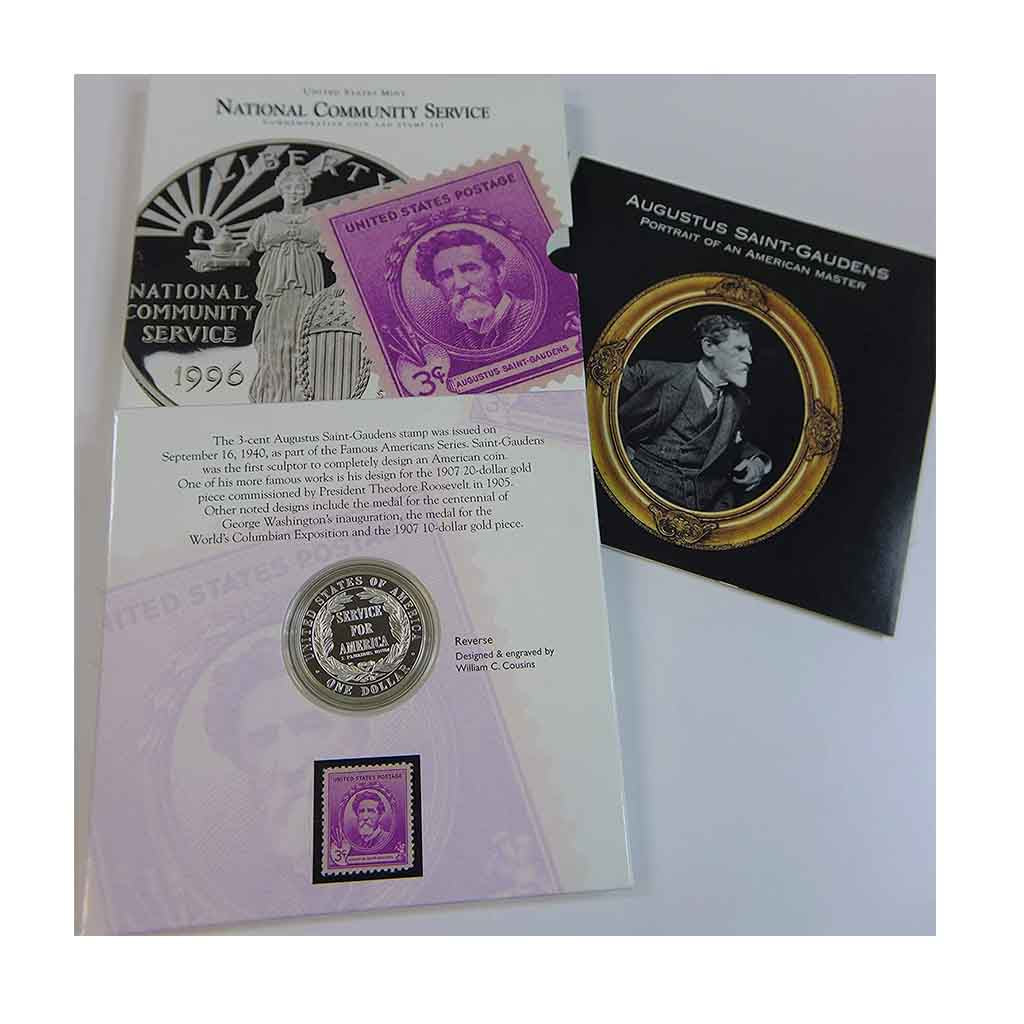 1996 National Community Service Silver Dollar and Stamp Set Commemorative Proof
