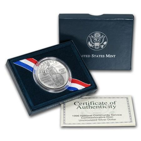 1996 PROOF National Community Service 90/% Silver Dollar US Mint Coin Box /& COA