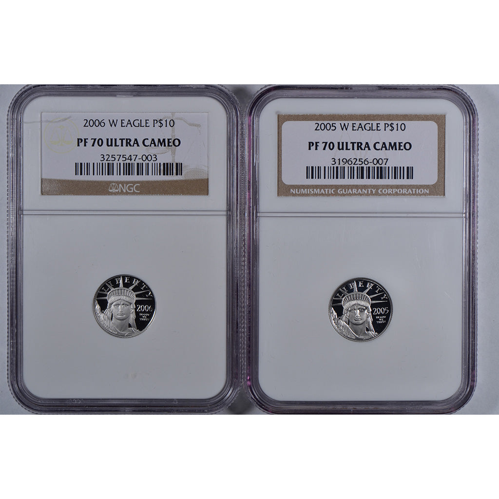 1997-2008 W $1/10 oz American Platinum Eagle NGC PR70UC, 12-Coin Set