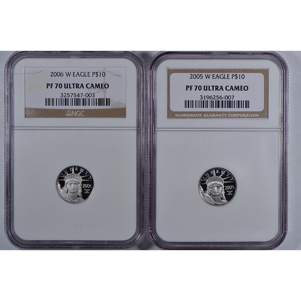 1997-2008 W $10 American Platinum Eagle NGC PR 70UC *12 Coin Set*