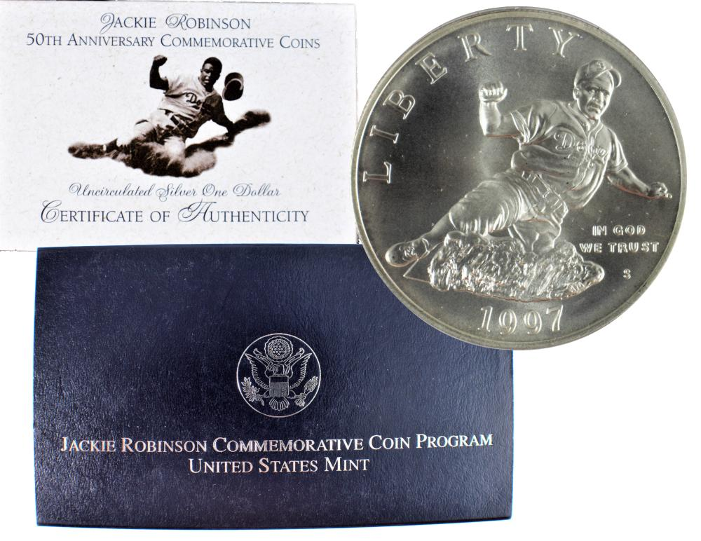 1997 Jackie Robinson Commemorative Silver Dollar Mint State