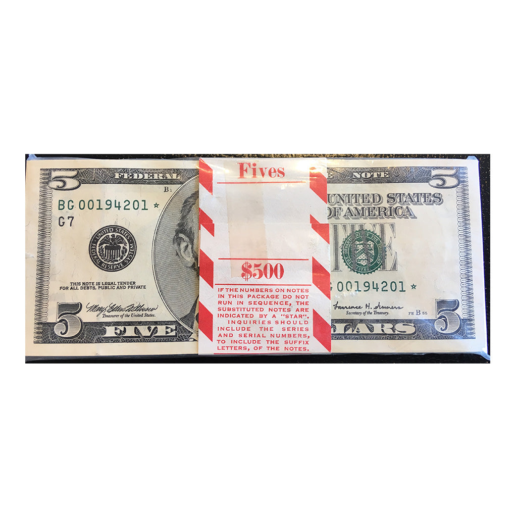 1999 Small Size $5 Federal Reserve Notes, BEP $500 Sequential Serial No. Star Notes
