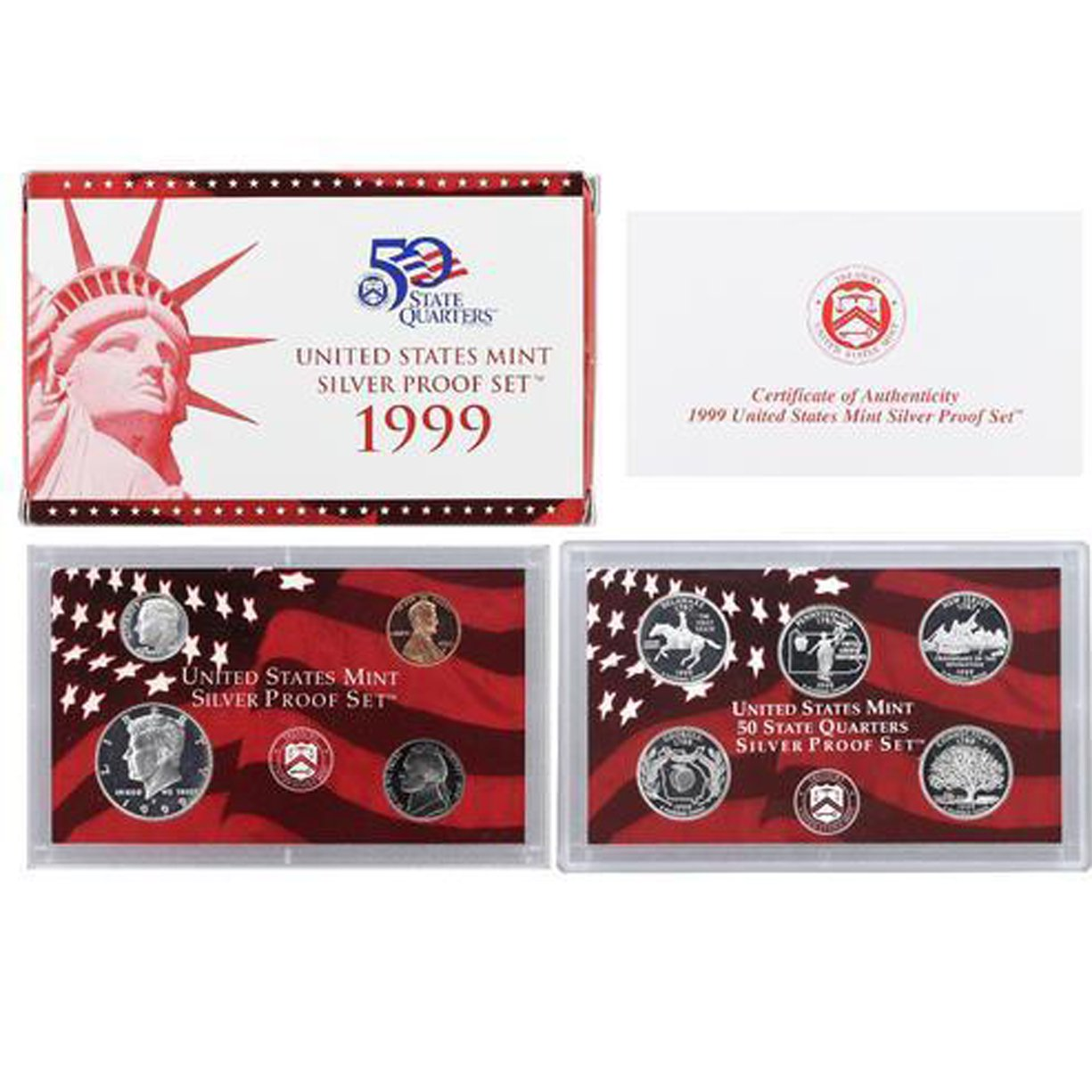 1999-S U.S. Silver Proof Set: Complete 9-Coin Set, with Box and COA