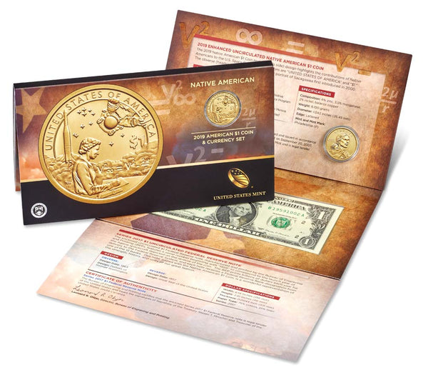 Native American $1 Coin & Currency Set 2019