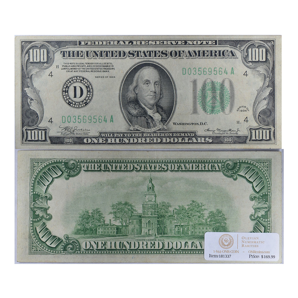 1934 Small Size $100 Federal Reserve Note, Cleveland