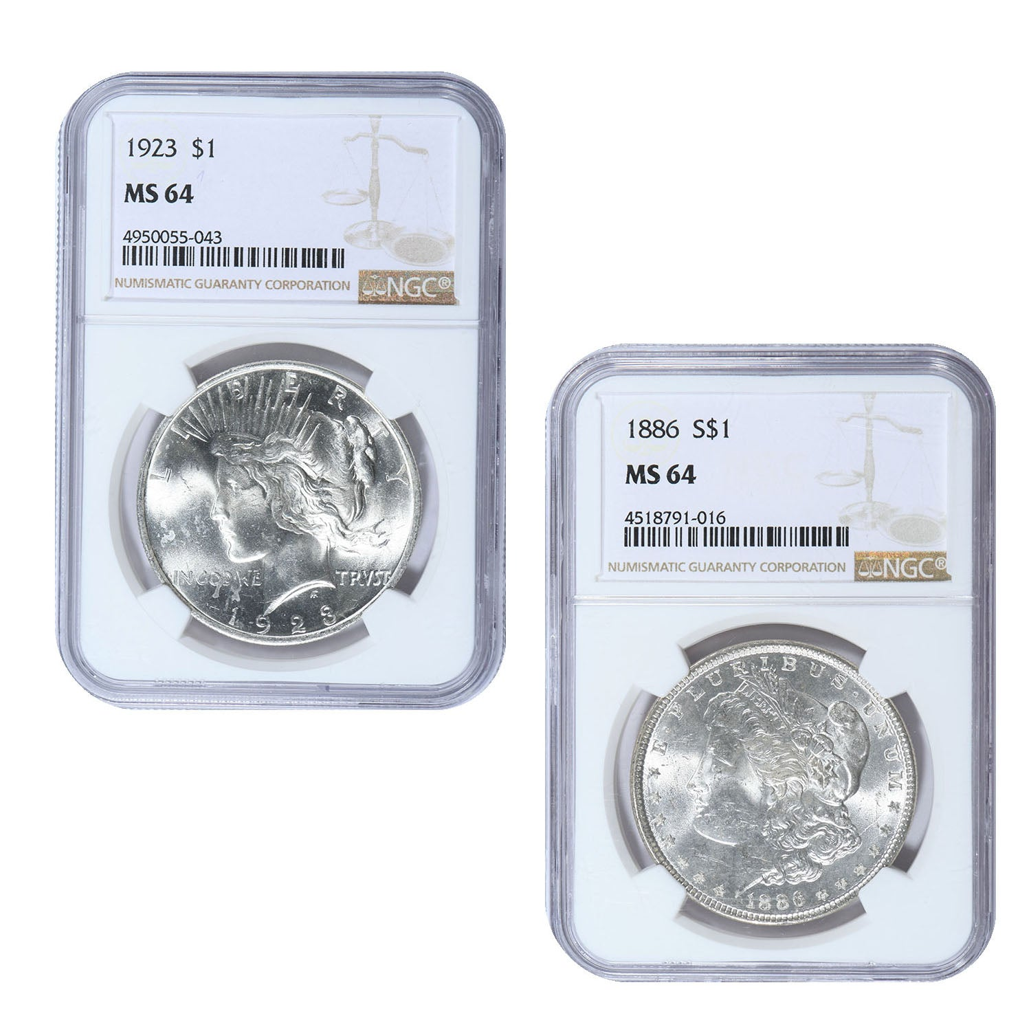 1878-1926 Morgan & Peace Silver Dollar 2-Coin Set NGC Certified Brilliant Uncirculated & Wood Box