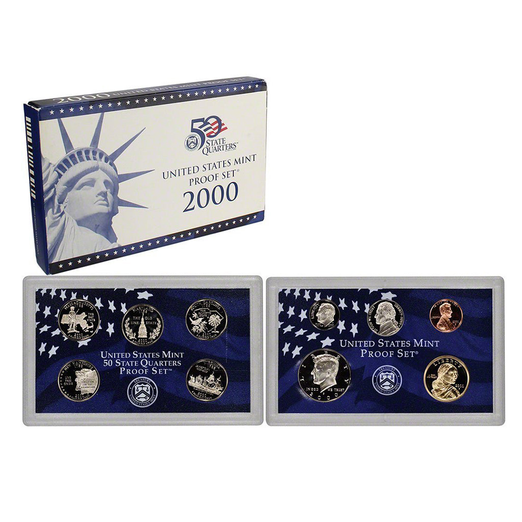 2000-S U.S. Clad Proof Set: Complete 10-Coin Set, with Box and COA