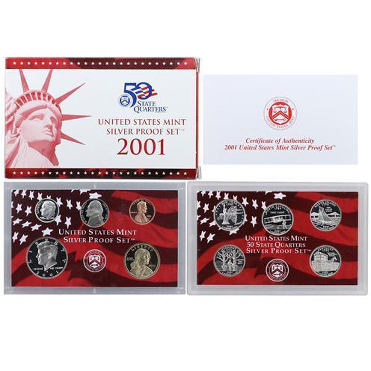 2001-S U.S. Silver Proof Set: Complete 10-Coin Set, with Box and COA