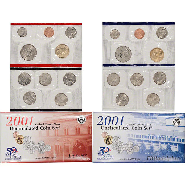 2001-P&D U.S. Uncirculated Set: 20-Coin Set in Original Packaging
