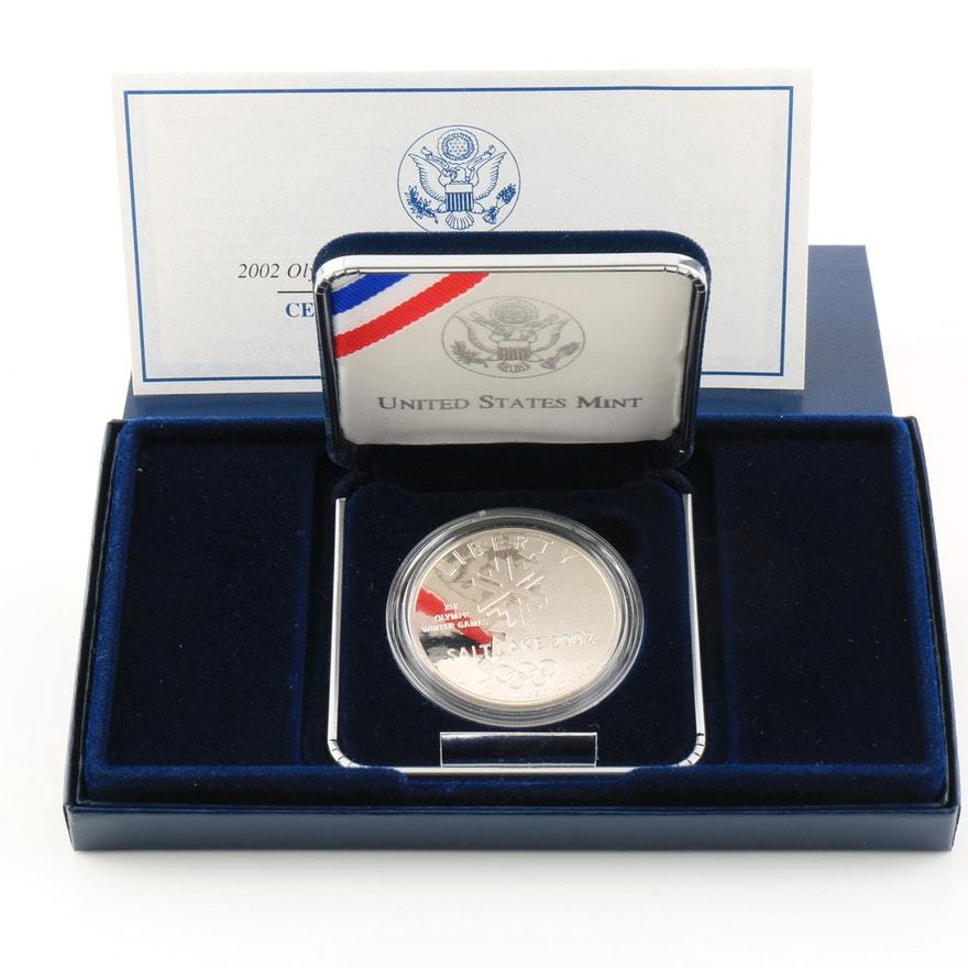 2002-P SLC Winter Olympics Commemorative Silver Dollar Proof