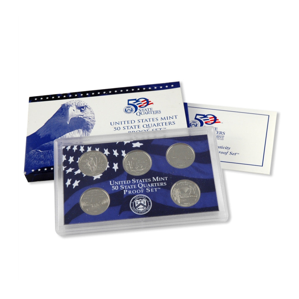 2003-S U.S. State Quarters Proof Set: 5-Coin Set with Box & C.O.A.