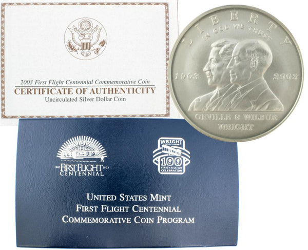 2003 First Flight Commemorative Silver Dollar BU